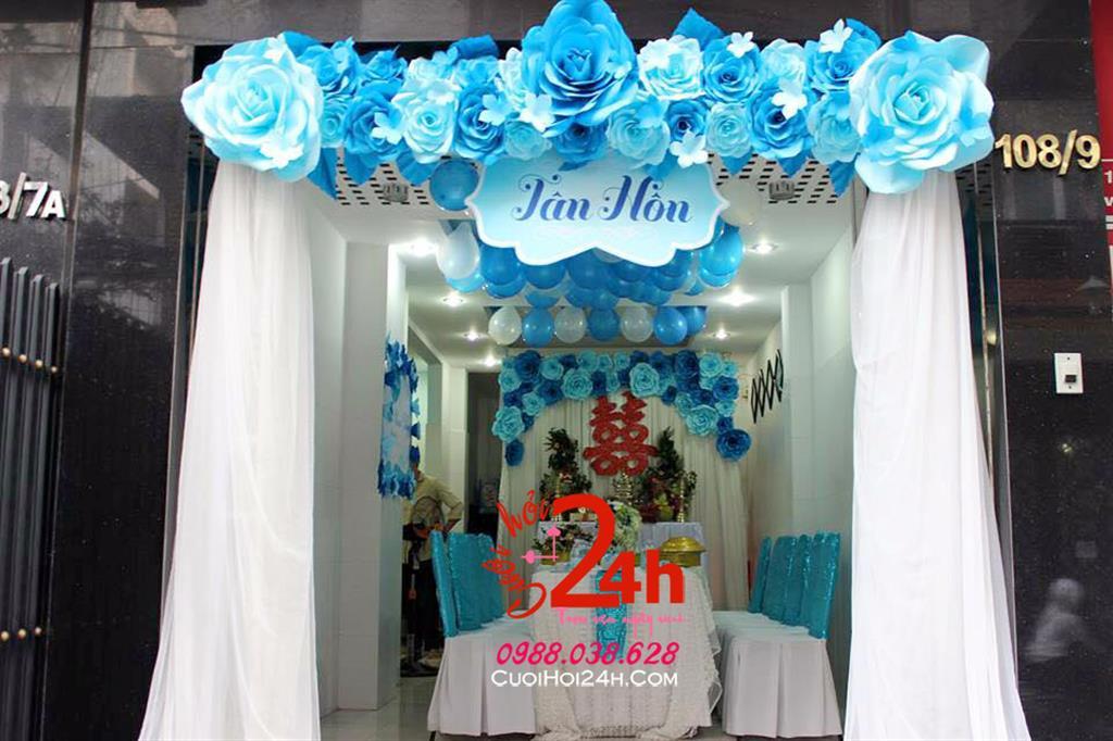 Dịch vụ cưới hỏi 24h trọn vẹn ngày vui chuyên trang trí nhà đám cưới hỏi và nhà hàng tiệc cưới | Cổng hoa giấy ngày cưới mái ngang kết hoa giấy xanh ngọc