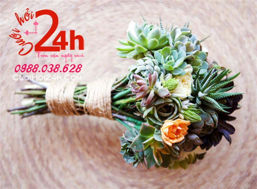 Dịch vụ cưới hỏi 24h trọn vẹn ngày vui chuyên trang trí nhà đám cưới hỏi và nhà hàng tiệc cưới | Hoa cầm tay cô dâu ngày cưới kết từ hoa sen đá