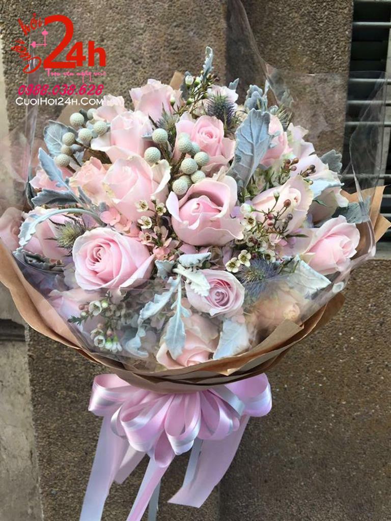 Dịch vụ cưới hỏi 24h trọn vẹn ngày vui chuyên trang trí nhà đám cưới hỏi và nhà hàng tiệc cưới | Bó hoa cầm tay cô dâu to tròn đẹp