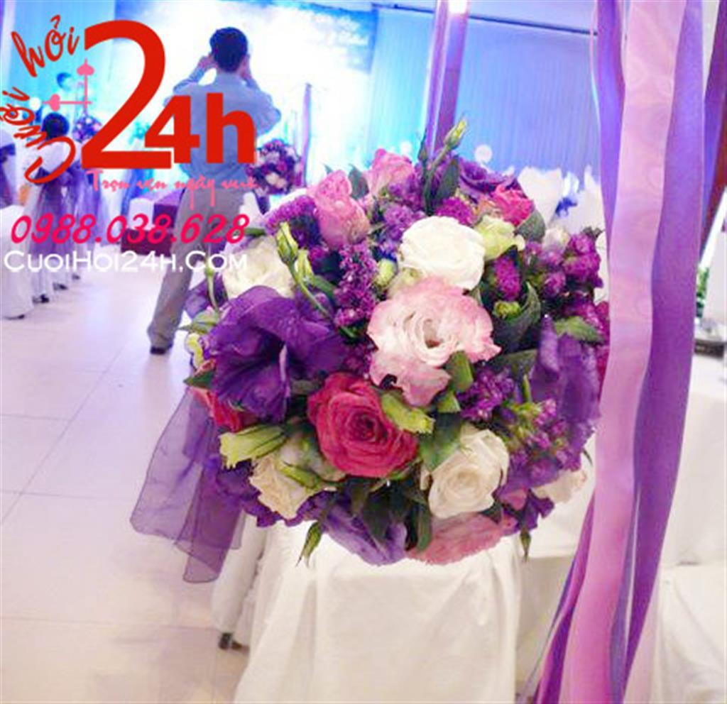 Dịch vụ cưới hỏi 24h trọn vẹn ngày vui chuyên trang trí nhà đám cưới hỏi và nhà hàng tiệc cưới | Hoa trang trí lối đi tiệc cưới kết tròn đẹp