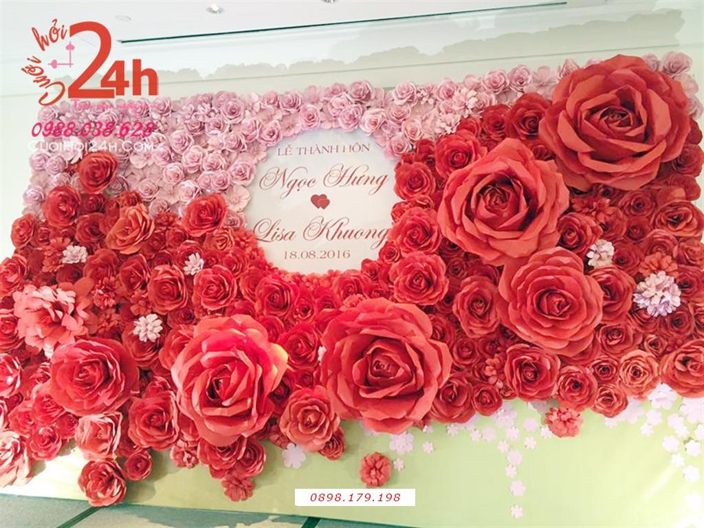 Dịch vụ cưới hỏi 24h trọn vẹn ngày vui chuyên trang trí nhà đám cưới hỏi và nhà hàng tiệc cưới | Backdrop hoa giấy màu đỏ to đẹp