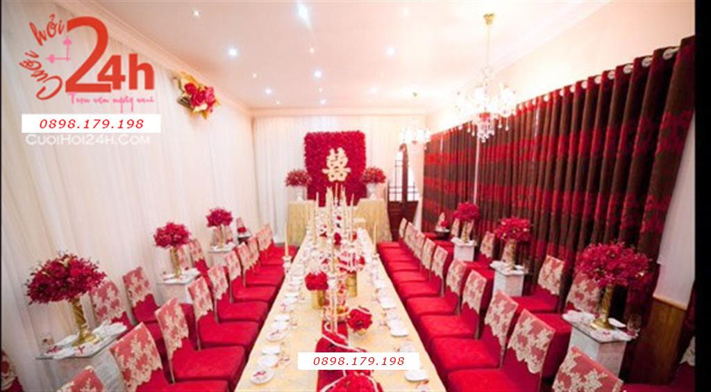 Dịch vụ cưới hỏi 24h trọn vẹn ngày vui chuyên trang trí nhà đám cưới hỏi và nhà hàng tiệc cưới | Dịch vụ trang trí nhà trọn gói tông đỏ rực