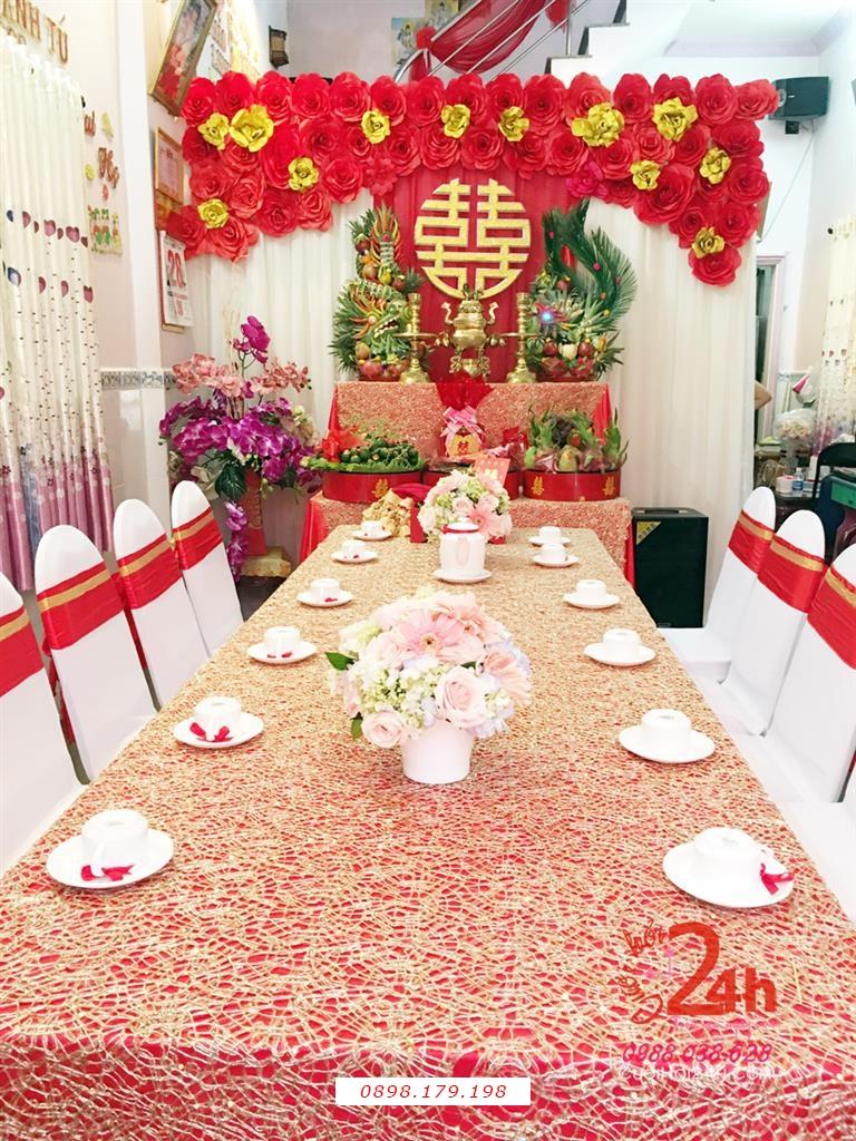 Dịch vụ cưới hỏi 24h trọn vẹn ngày vui chuyên trang trí nhà đám cưới hỏi và nhà hàng tiệc cưới | Trang trí nhà ngày đám cưới sang trọng với tông màu đỏ
