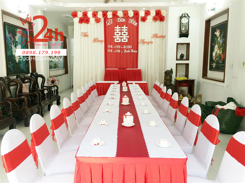 Dịch vụ cưới hỏi 24h trọn vẹn ngày vui chuyên trang trí nhà đám cưới hỏi và nhà hàng tiệc cưới | Trang trí nhà cưới hỏi trọn gói với voan trắng cùng hoa giấy