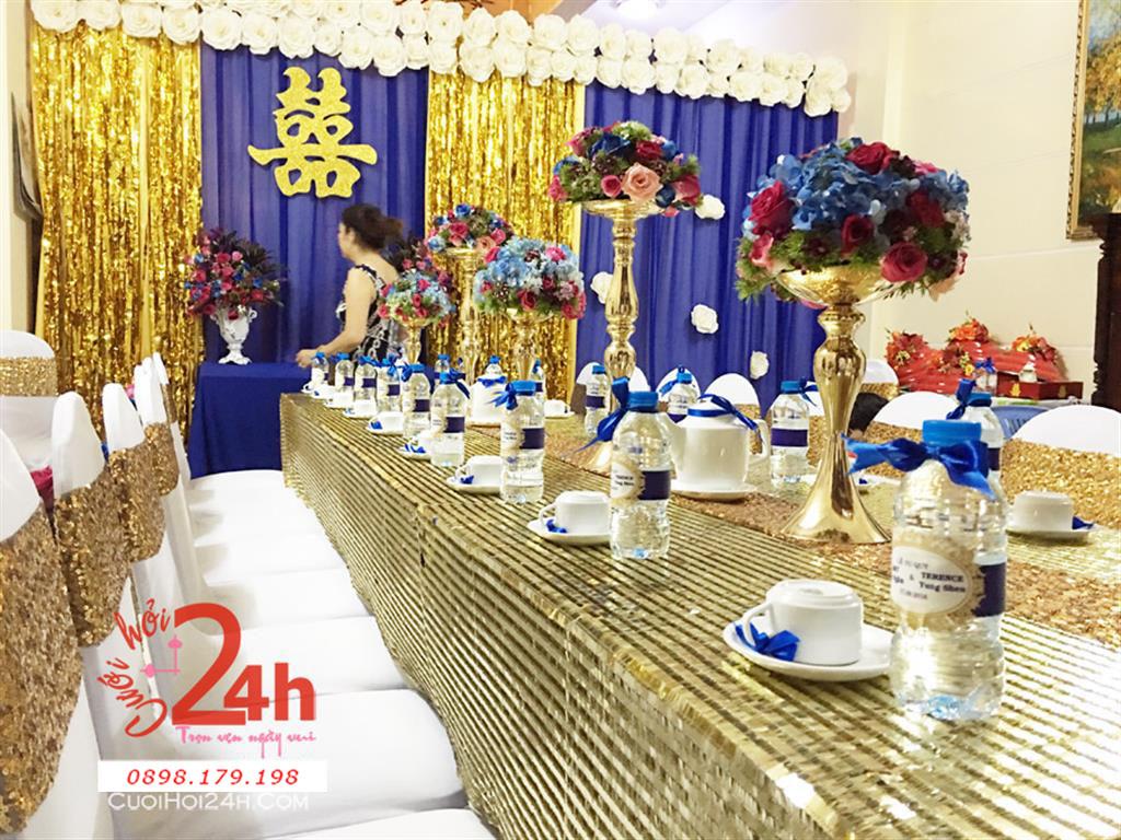 Dịch vụ cưới hỏi 24h trọn vẹn ngày vui chuyên trang trí nhà đám cưới hỏi và nhà hàng tiệc cưới | Trang trí nhà cưới hỏi lạ mắt với tông màu tím vàng kim