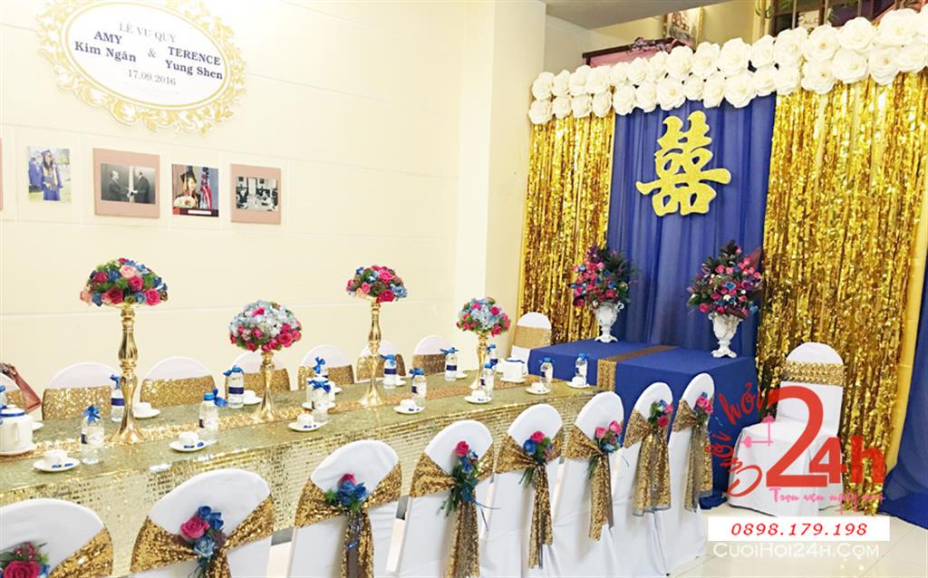Dịch vụ cưới hỏi 24h trọn vẹn ngày vui chuyên trang trí nhà đám cưới hỏi và nhà hàng tiệc cưới | Trang trí nhà đám cưới tông màu tím vàng kim