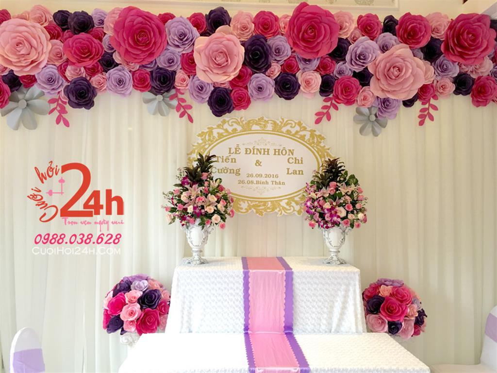 Dịch vụ cưới hỏi 24h trọn vẹn ngày vui chuyên trang trí nhà đám cưới hỏi và nhà hàng tiệc cưới | Bàn thờ gia tiên đám cưới kết hoa giấy to đẹp
