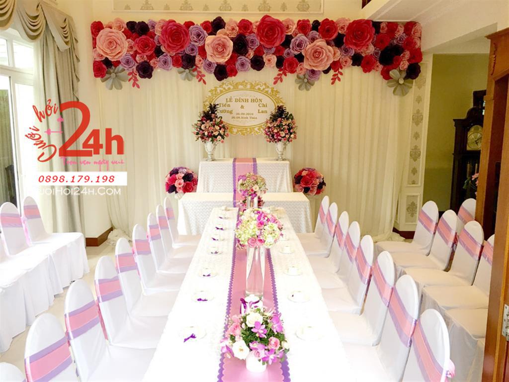 Dịch vụ cưới hỏi 24h trọn vẹn ngày vui chuyên trang trí nhà đám cưới hỏi và nhà hàng tiệc cưới | Trang trí nhà cưới hỏi tông hồng tím