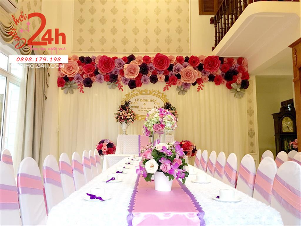 Dịch vụ cưới hỏi 24h trọn vẹn ngày vui chuyên trang trí nhà đám cưới hỏi và nhà hàng tiệc cưới | Trang trí nhà cưới hỏi trọn gói với tông màu tím hồng