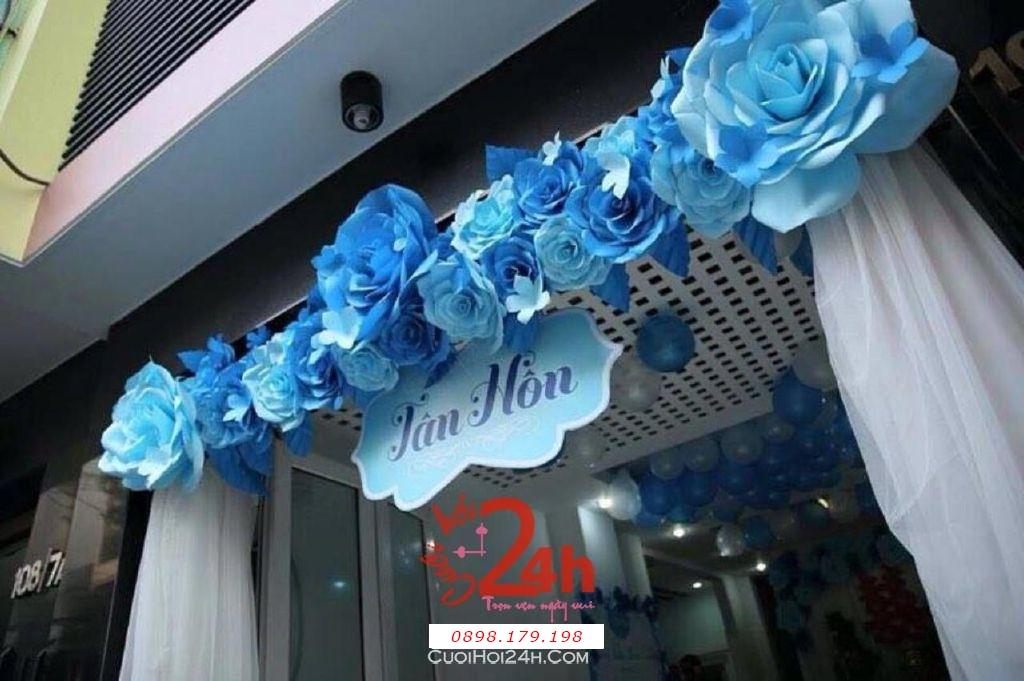 Dịch vụ cưới hỏi 24h trọn vẹn ngày vui chuyên trang trí nhà đám cưới hỏi và nhà hàng tiệc cưới | Cổng cưới hoa giấy tông màu xanh dương