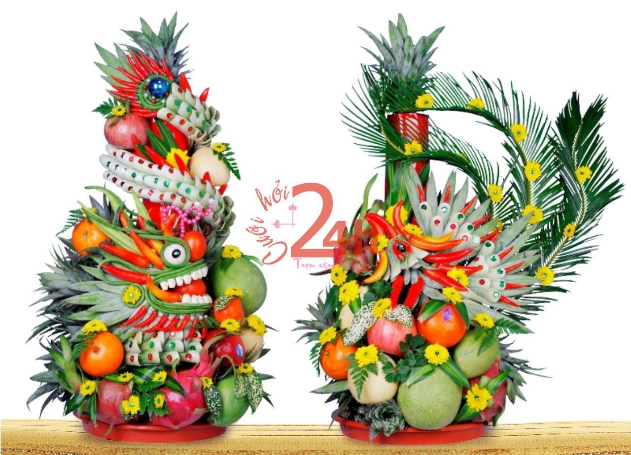 Dịch vụ cưới hỏi 24h trọn vẹn ngày vui chuyên trang trí nhà đám cưới hỏi và nhà hàng tiệc cưới | Dịch vụ kết mâm quả rồng phụng sử dụng các loại trái cây tươi và hoa cúc vàng