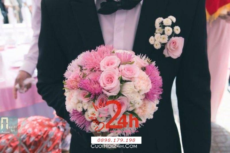 Dịch vụ cưới hỏi 24h trọn vẹn ngày vui chuyên trang trí nhà đám cưới hỏi và nhà hàng tiệc cưới | Hoa cầm tay tông hồng pastel