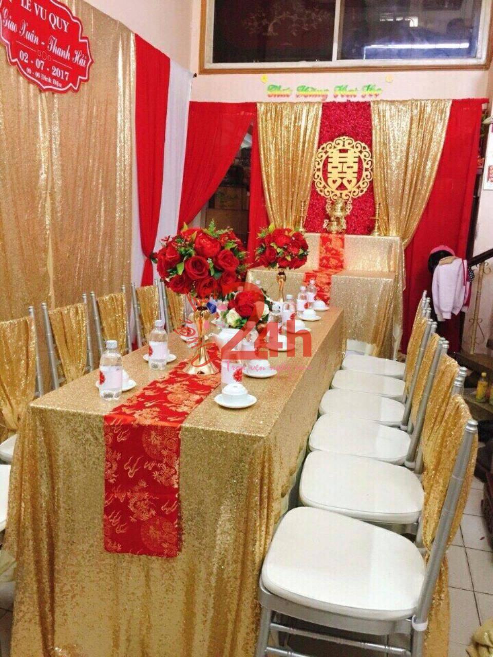 Dịch vụ cưới hỏi 24h trọn vẹn ngày vui chuyên trang trí nhà đám cưới hỏi và nhà hàng tiệc cưới | Hoa để bàn lễ gia tiên