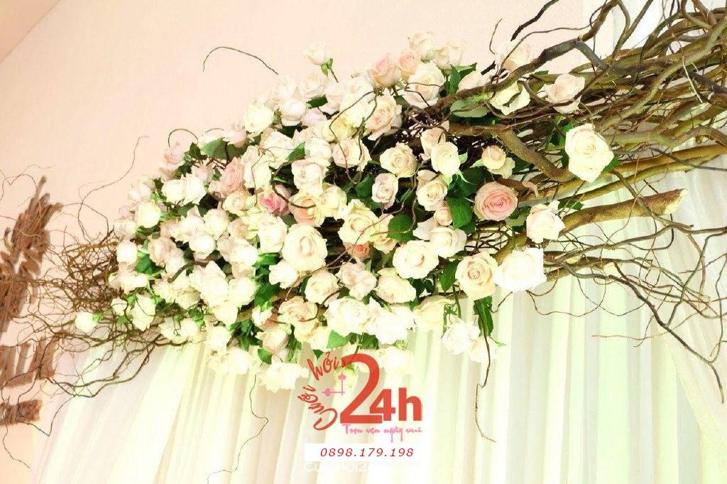 Dịch vụ cưới hỏi 24h trọn vẹn ngày vui chuyên trang trí nhà đám cưới hỏi và nhà hàng tiệc cưới | Hoa tươi màu hồng pastel dễ thương