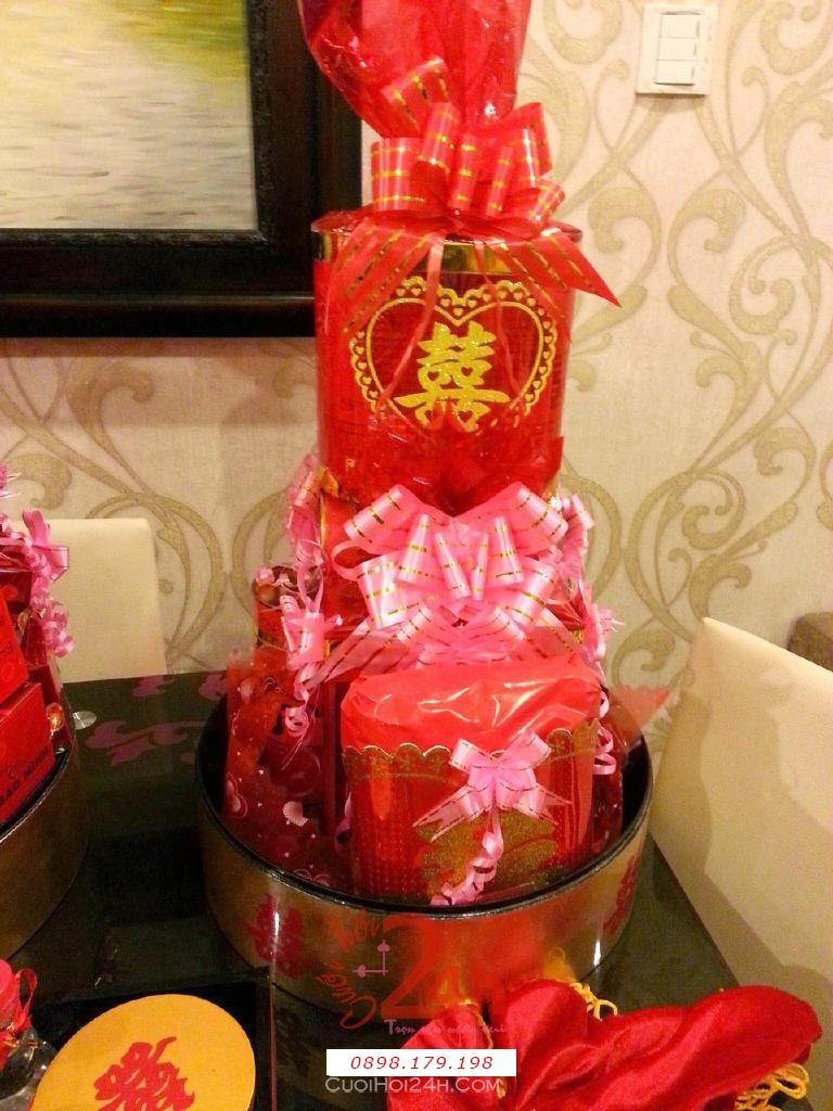 Dịch vụ cưới hỏi 24h trọn vẹn ngày vui chuyên trang trí nhà đám cưới hỏi và nhà hàng tiệc cưới | Mâm quả ngày cưới sơn mài - tháp trà rượu sang trọng màu đỏ
