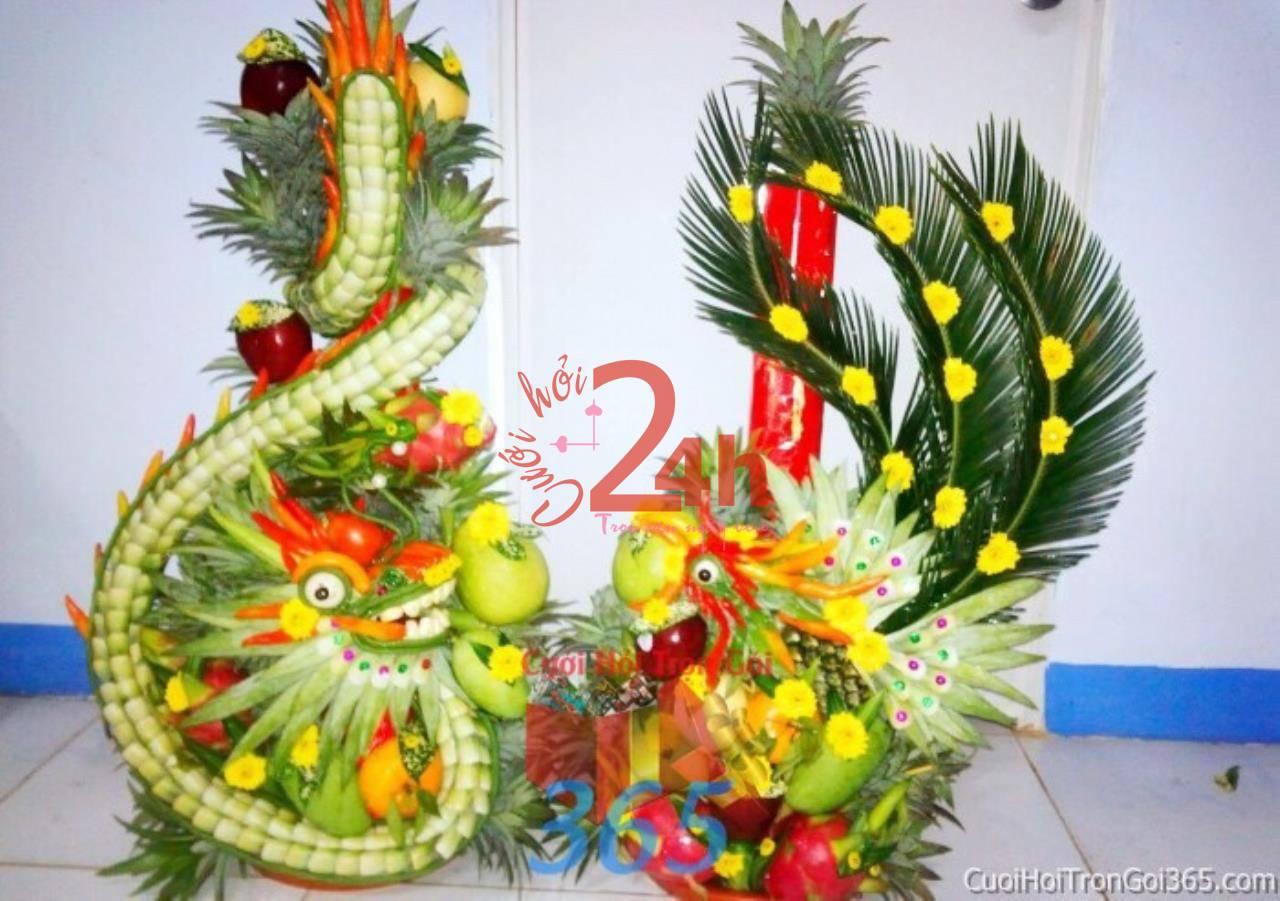 Dịch vụ cưới hỏi 24h trọn vẹn ngày vui chuyên trang trí nhà đám cưới hỏi và nhà hàng tiệc cưới | Mâm quả rồng phụng trái cây (1)