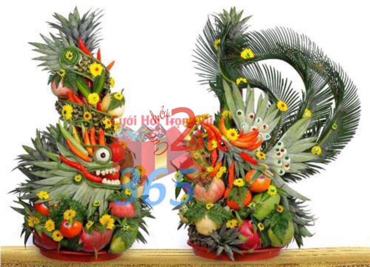Dịch vụ cưới hỏi 24h trọn vẹn ngày vui chuyên trang trí nhà đám cưới hỏi và nhà hàng tiệc cưới | Mâm quả rồng phụng trái cây (2)