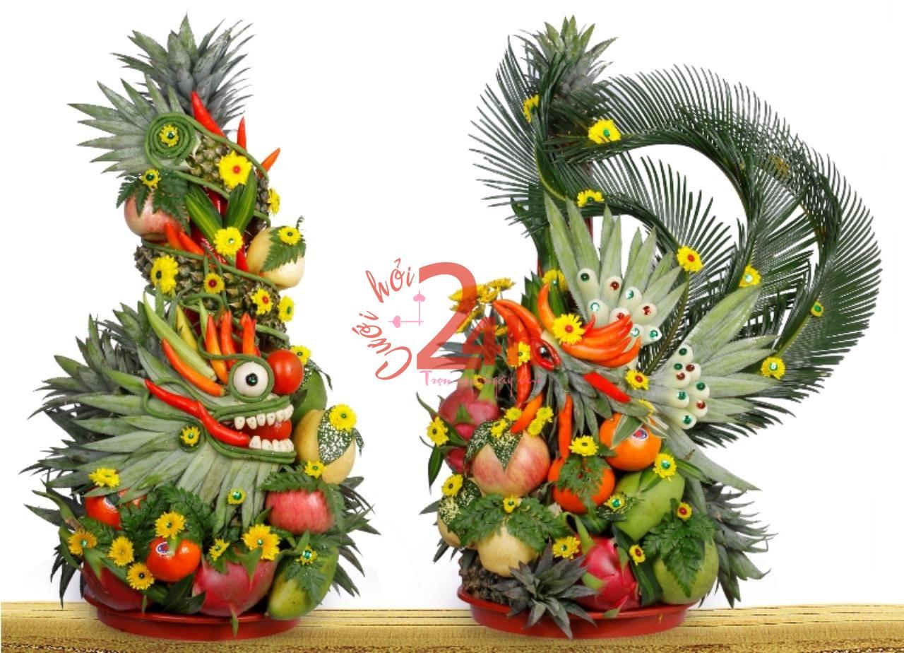 Dịch vụ cưới hỏi 24h trọn vẹn ngày vui chuyên trang trí nhà đám cưới hỏi và nhà hàng tiệc cưới | Mâm quả rồng phụng trái cây màu sắc đẹp hình dáng uốn lượn khéo léo