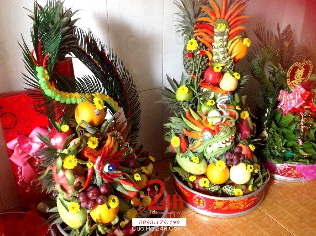 Dịch vụ cưới hỏi 24h trọn vẹn ngày vui chuyên trang trí nhà đám cưới hỏi và nhà hàng tiệc cưới | Mâm quả rồng phụng trái cây ngon