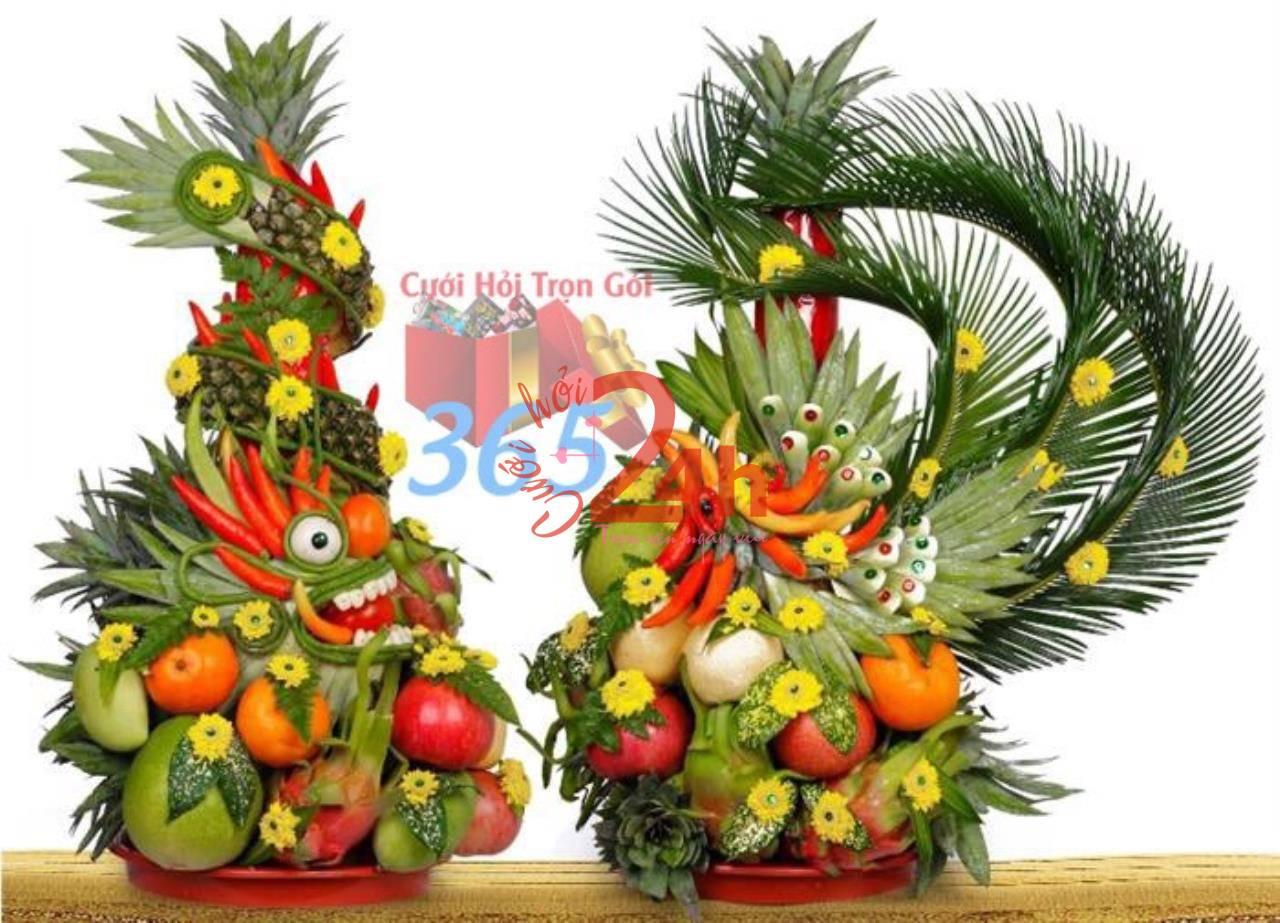 Dịch vụ cưới hỏi 24h trọn vẹn ngày vui chuyên trang trí nhà đám cưới hỏi và nhà hàng tiệc cưới | Mẫu mâm quả trái cây được kết khéo léo, uyển chuyển