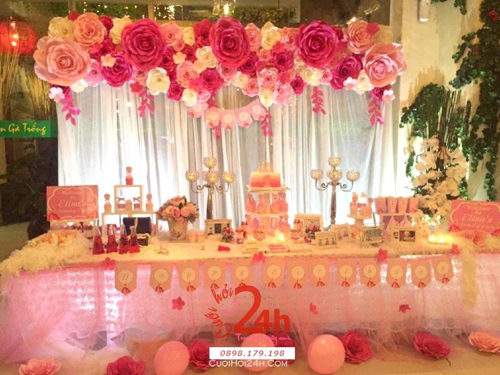 Dịch vụ cưới hỏi 24h trọn vẹn ngày vui chuyên trang trí nhà đám cưới hỏi và nhà hàng tiệc cưới | Phông hoa giấy màu hồng cực đẹp và dễ thương