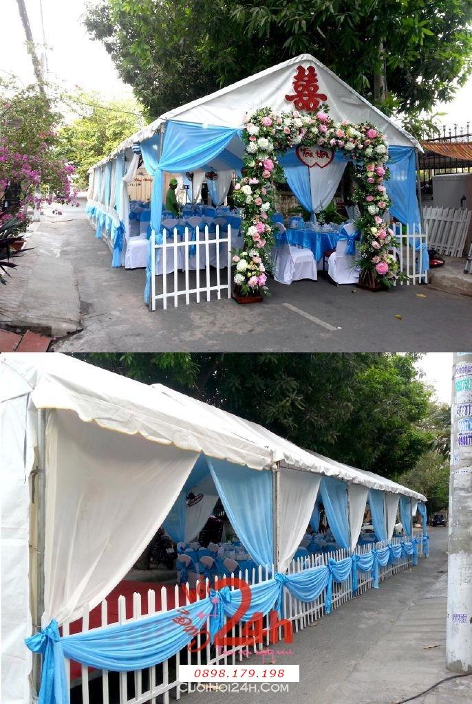 Dịch vụ cưới hỏi 24h trọn vẹn ngày vui chuyên trang trí nhà đám cưới hỏi và nhà hàng tiệc cưới | Rạp cưới đẹp màu xanh biển (2)