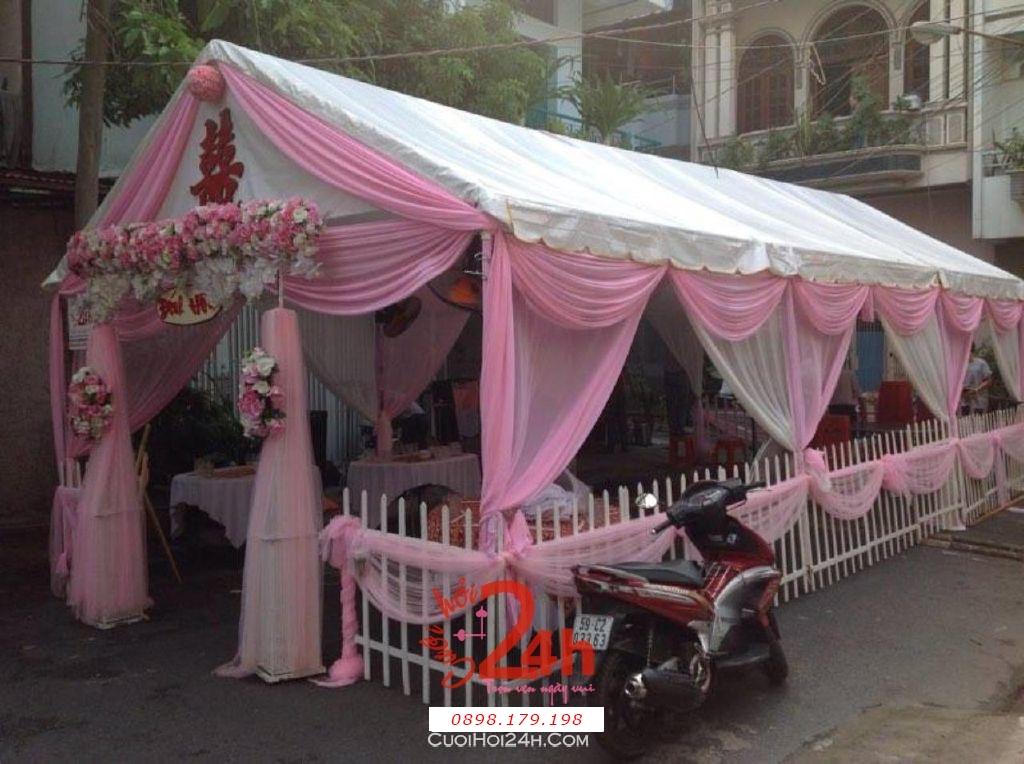 Dịch vụ cưới hỏi 24h trọn vẹn ngày vui chuyên trang trí nhà đám cưới hỏi và nhà hàng tiệc cưới | Rạp cưới tông màu hồng (2)