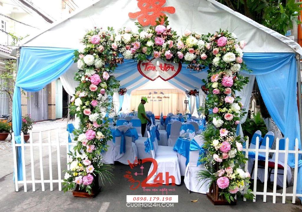 Dịch vụ cưới hỏi 24h trọn vẹn ngày vui chuyên trang trí nhà đám cưới hỏi và nhà hàng tiệc cưới | Rạp cưới tông xanh ngọc