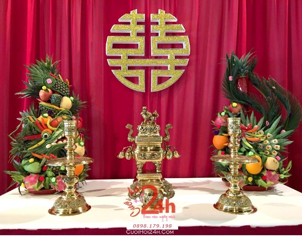 Dịch vụ cưới hỏi 24h trọn vẹn ngày vui chuyên trang trí nhà đám cưới hỏi và nhà hàng tiệc cưới | Rồng phụng đẹp trên bàn thờ song hỷ