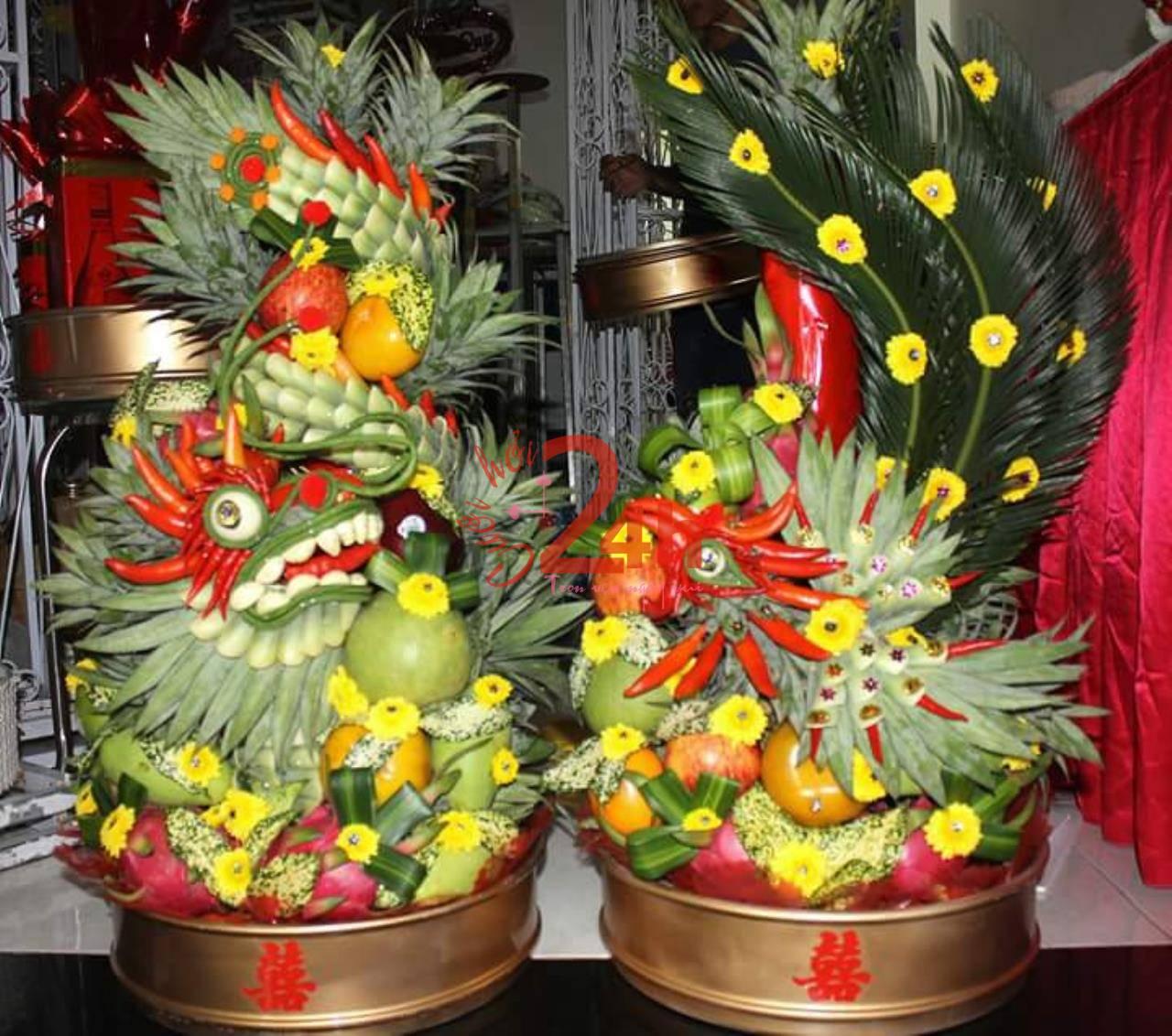 Dịch vụ cưới hỏi 24h trọn vẹn ngày vui chuyên trang trí nhà đám cưới hỏi và nhà hàng tiệc cưới | Rồng phụng trái cây ngon
