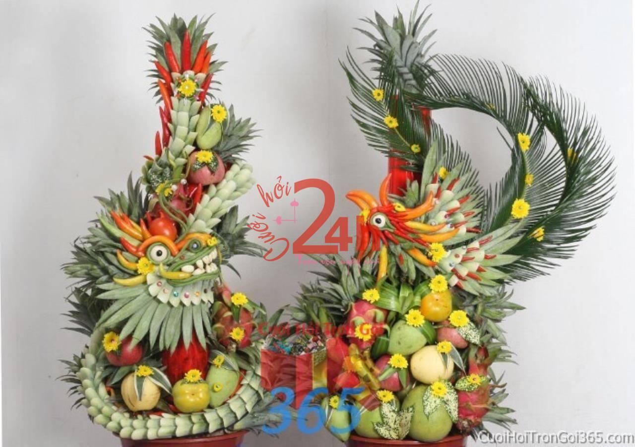 Dịch vụ cưới hỏi 24h trọn vẹn ngày vui chuyên trang trí nhà đám cưới hỏi và nhà hàng tiệc cưới | Trang trí mâm quả rồng phụng kết từ trái cây và lá dừa màu xanh mướt