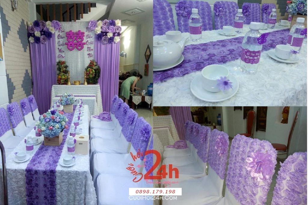 Dịch vụ cưới hỏi 24h trọn vẹn ngày vui chuyên trang trí nhà đám cưới hỏi và nhà hàng tiệc cưới | Trang trí nhà cưới hỏi cao cấp tông tím với vải nhung và hoa giấy (3)