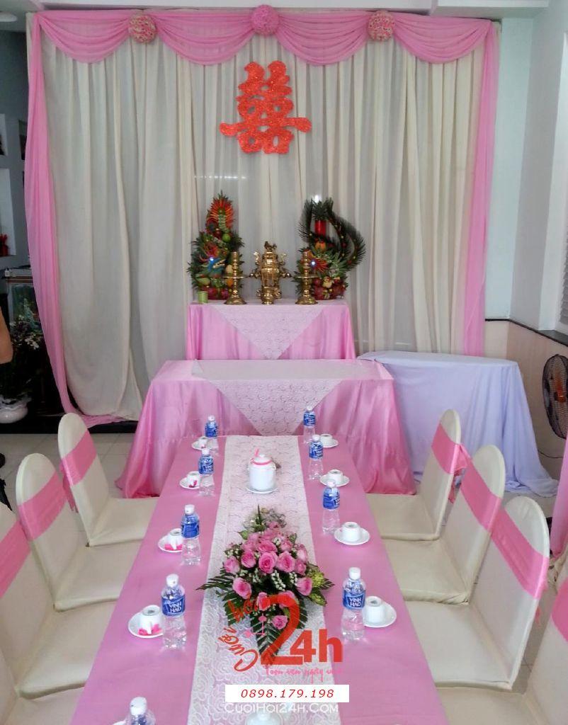 Dịch vụ cưới hỏi 24h trọn vẹn ngày vui chuyên trang trí nhà đám cưới hỏi và nhà hàng tiệc cưới | Trang trí nhà cưới hỏi tông hồng phấn sáng đẹp nhẹ hàng (2)