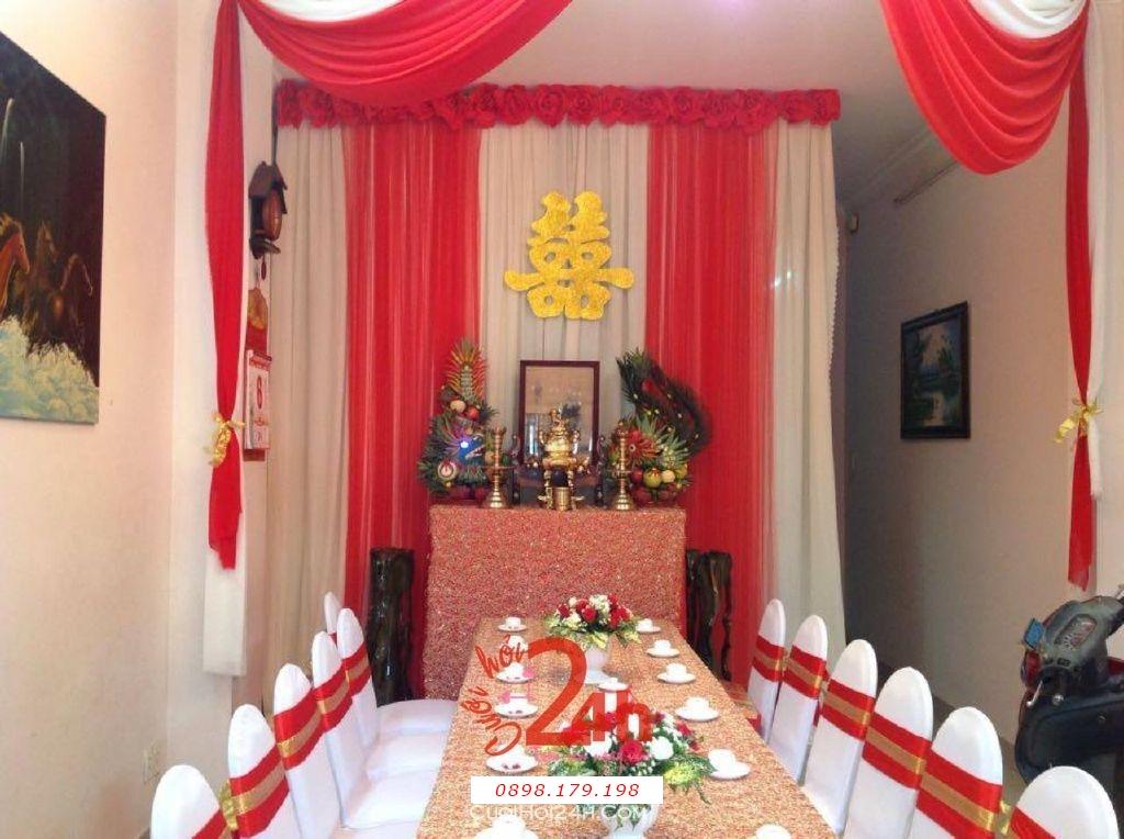 Dịch vụ cưới hỏi 24h trọn vẹn ngày vui chuyên trang trí nhà đám cưới hỏi và nhà hàng tiệc cưới | Trang trí nhà cưới tông đỏ (1)