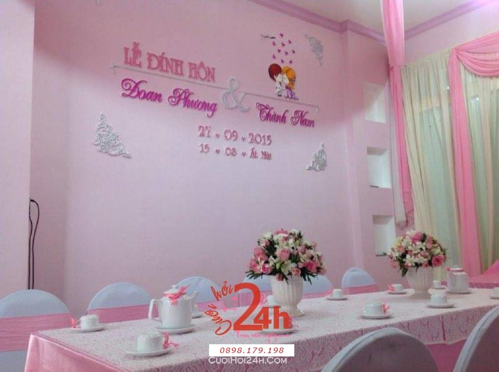 Dịch vụ cưới hỏi 24h trọn vẹn ngày vui chuyên trang trí nhà đám cưới hỏi và nhà hàng tiệc cưới | Trang trí nhà cưới tông hồng phấn (2)