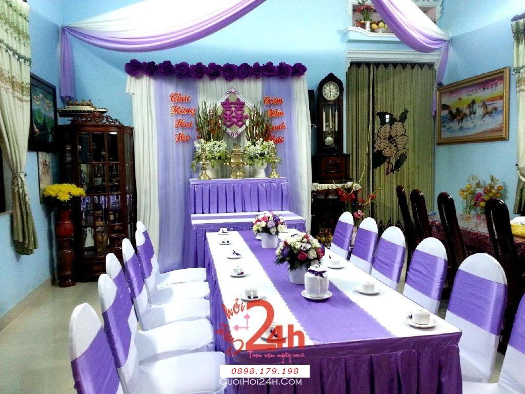 Dịch vụ cưới hỏi 24h trọn vẹn ngày vui chuyên trang trí nhà đám cưới hỏi và nhà hàng tiệc cưới | Trang trí nhà đám cưới tông tím lãng mạn (2)