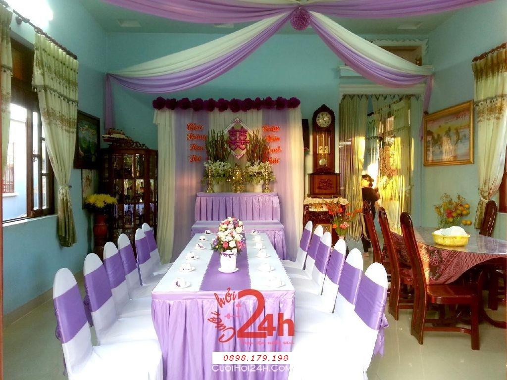 Dịch vụ cưới hỏi 24h trọn vẹn ngày vui chuyên trang trí nhà đám cưới hỏi và nhà hàng tiệc cưới | Trang trí nhà ngày cưới màu tím (2)