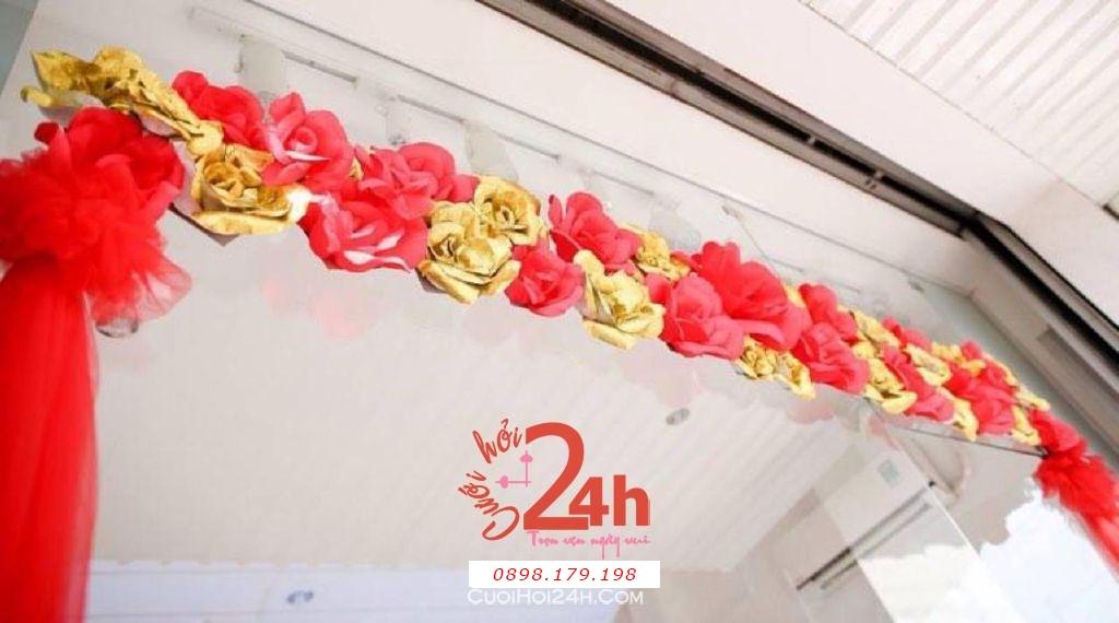Dịch vụ cưới hỏi 24h trọn vẹn ngày vui chuyên trang trí nhà đám cưới hỏi và nhà hàng tiệc cưới | Trang trí nhà ngày cưới với hoa giấy