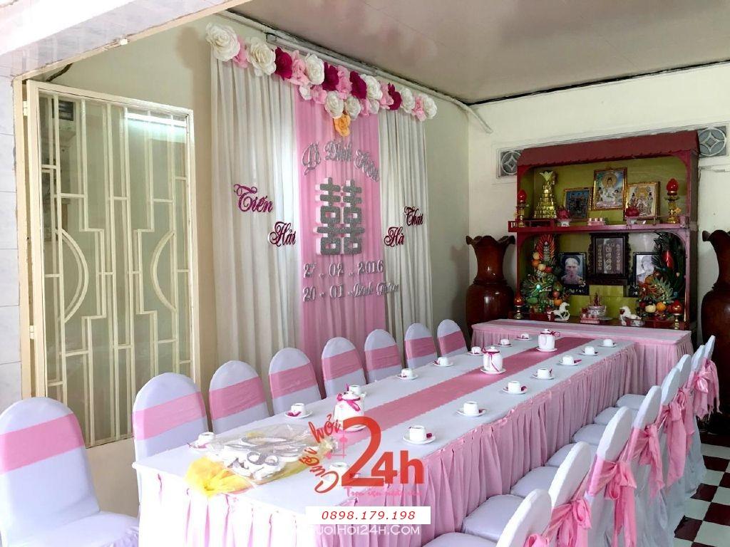 Dịch vụ cưới hỏi 24h trọn vẹn ngày vui chuyên trang trí nhà đám cưới hỏi và nhà hàng tiệc cưới | Trang trí nhà tông hồng thật dễ thương cho lễ đính hôn (1)