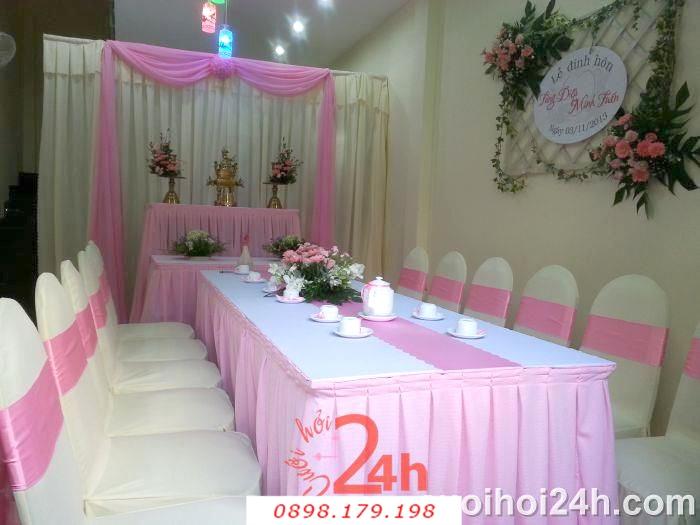 Dịch vụ cưới hỏi 24h trọn vẹn ngày vui chuyên trang trí nhà đám cưới hỏi và nhà hàng tiệc cưới | Bàn ghế chén dĩa tông trắng hồng