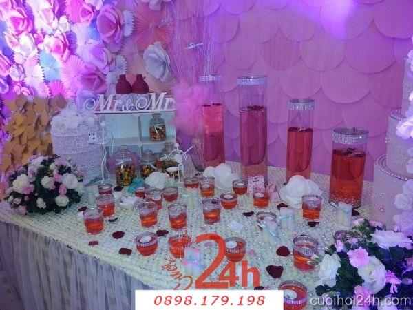 Dịch vụ cưới hỏi 24h trọn vẹn ngày vui chuyên trang trí nhà đám cưới hỏi và nhà hàng tiệc cưới | Trang trí bàn đón khách
