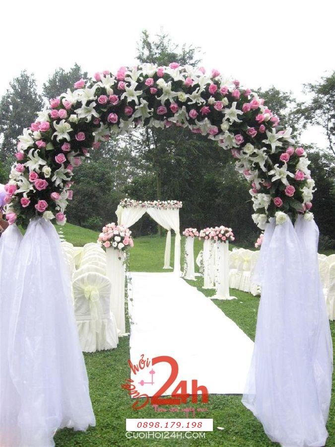 Dịch vụ cưới hỏi 24h trọn vẹn ngày vui chuyên trang trí nhà đám cưới hỏi và nhà hàng tiệc cưới | Cổng hoa tươi 21