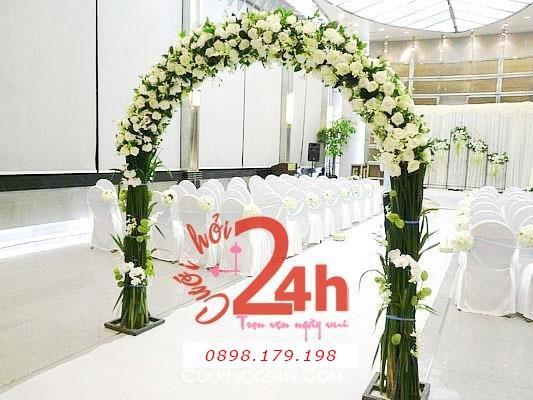 Dịch vụ cưới hỏi 24h trọn vẹn ngày vui chuyên trang trí nhà đám cưới hỏi và nhà hàng tiệc cưới | Cổng hoa tươi 34