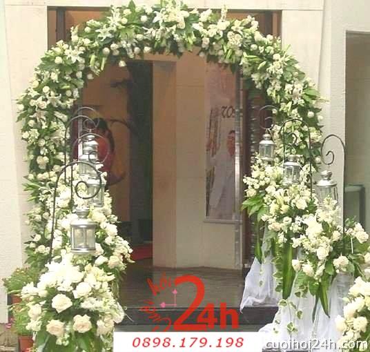 Dịch vụ cưới hỏi 24h trọn vẹn ngày vui chuyên trang trí nhà đám cưới hỏi và nhà hàng tiệc cưới | Cổng hoa tươi 38