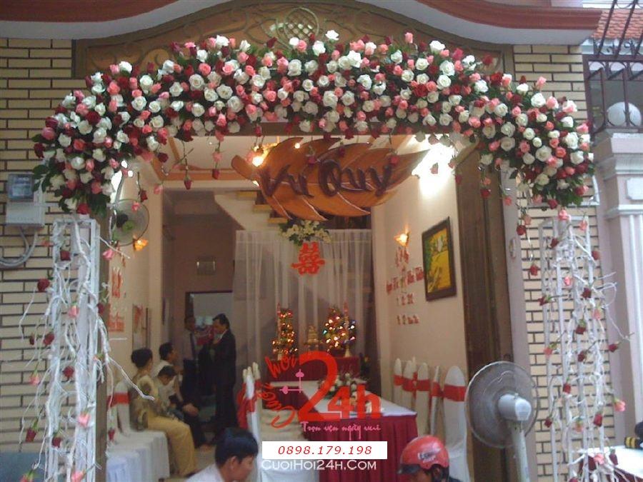 Dịch vụ cưới hỏi 24h trọn vẹn ngày vui chuyên trang trí nhà đám cưới hỏi và nhà hàng tiệc cưới | Cổng hoa tươi 50