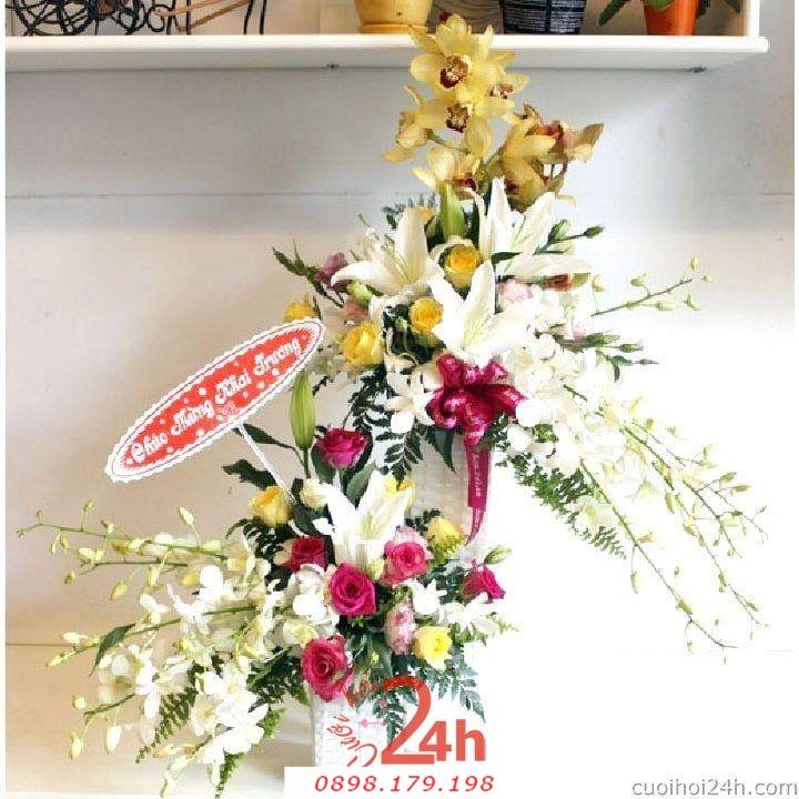 Dịch vụ cưới hỏi 24h trọn vẹn ngày vui chuyên trang trí nhà đám cưới hỏi và nhà hàng tiệc cưới | Hoa để bàn 20