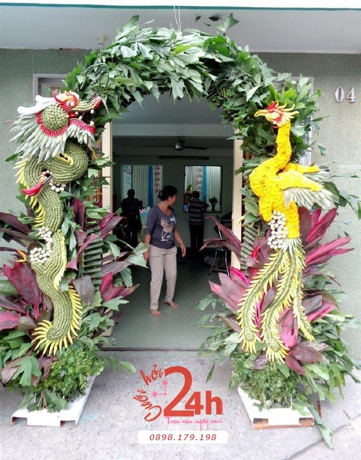 Dịch vụ cưới hỏi 24h trọn vẹn ngày vui chuyên trang trí nhà đám cưới hỏi và nhà hàng tiệc cưới | Cổng hoa trái cây long phụng đặc biệt