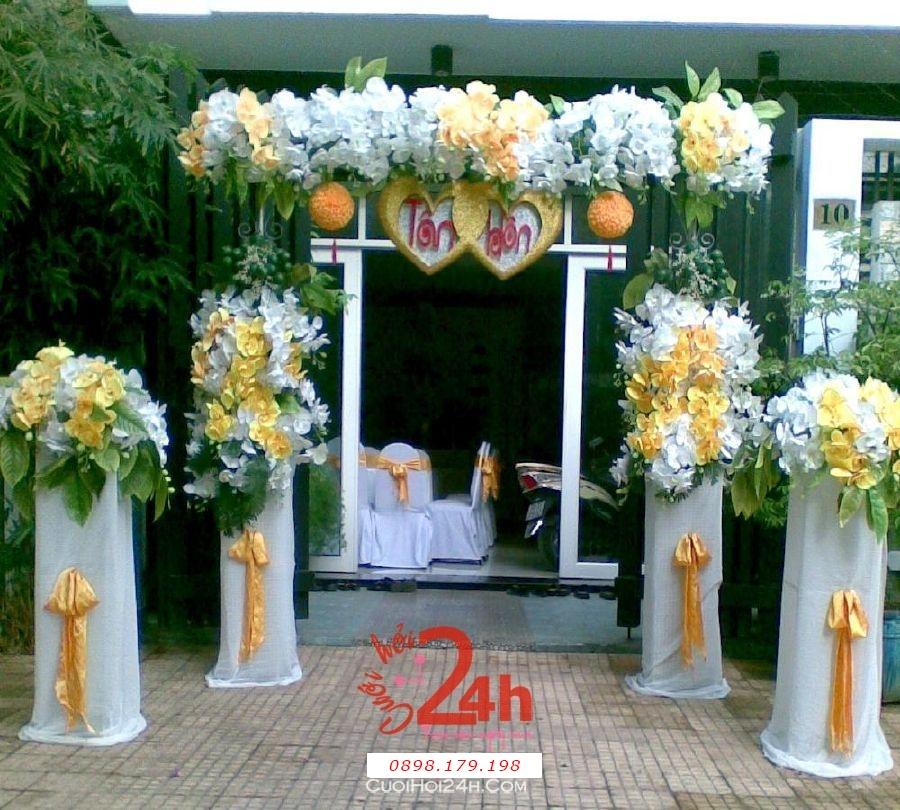 Dịch vụ cưới hỏi 24h trọn vẹn ngày vui chuyên trang trí nhà đám cưới hỏi và nhà hàng tiệc cưới | Cổng hoa vải đặc biệt