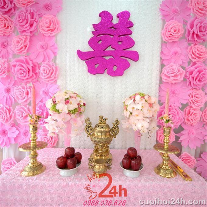 Dịch vụ cưới hỏi 24h trọn vẹn ngày vui chuyên trang trí nhà đám cưới hỏi và nhà hàng tiệc cưới | Trang trí bàn thờ GT 01