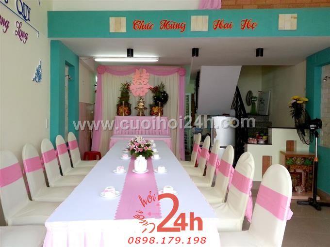 Dịch vụ cưới hỏi 24h trọn vẹn ngày vui chuyên trang trí nhà đám cưới hỏi và nhà hàng tiệc cưới | Trang trí nhà cưới hỏi tông hồng nhẹ nhàng